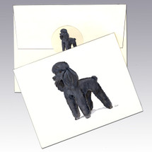 Poodle, Black Note Cards