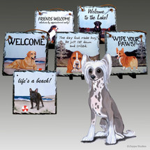 Chinese Crested Powder Puff Slate Signs