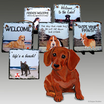Dachshund Red Slate Signs