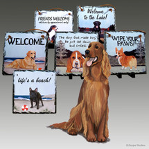 Irish Red n White Setter Slate Signs