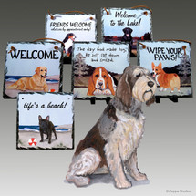 Red & White Italian Spinone Slate Signs