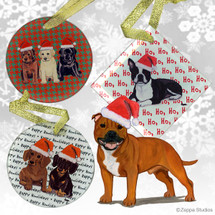 English Staffordshire Terrier Christmas Ornament
