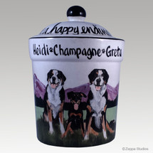 Three Dog Custom Hand Painted Treat Jar by Zeppa Studios