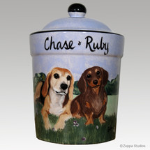 "Custom Hand Painted Ceramic Treat Jar, ""Chase & Ruby"" by Zeppa Studios"