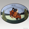 Hand Painted Gallery Style Rim Platter, Hunter Jumper
