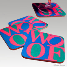 Woof = Love Beverage Coasters