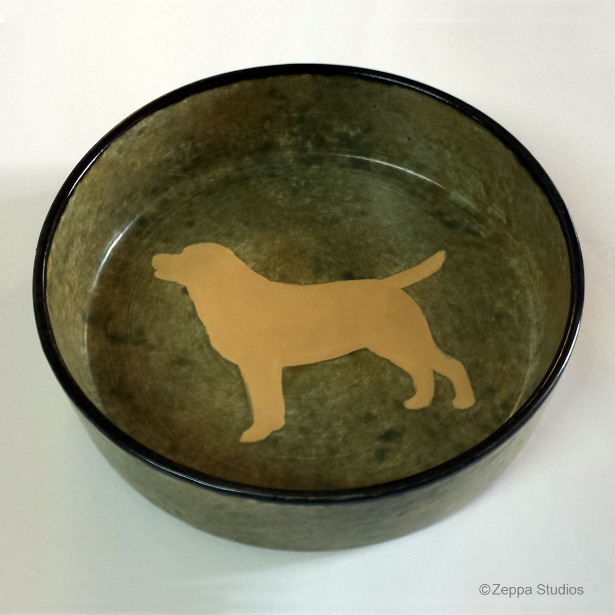 hand painted ceramic dog bowl yellow lab on rustic green