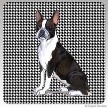 Boston Terrier Houndzstooth Coasters