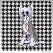 Chinese Crested Houndstooth Coasters