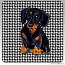 Black N Tan Dachshund Houndzstooth Coasters