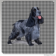 English Cocker Spaniel Houndzstooth Coasters