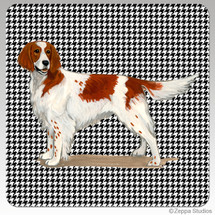 Irish Red n White Setter Houndzstooth Coasters