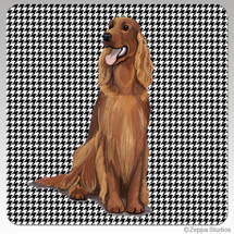 Irish Red and White Setter Houndzstooth Coasters