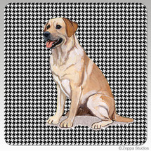 Yellow Lab Houndzstooth Coasters