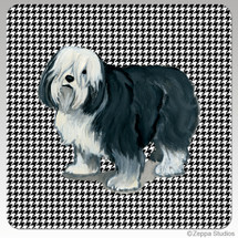 Polish Lowland Sheepdog Houndzstooth Coasters