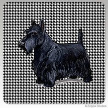 Scottish Terrier Houndzstooth Coasters