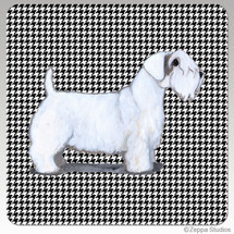 Sealyham Terrier Houndzstooth Coasters - Rectangle