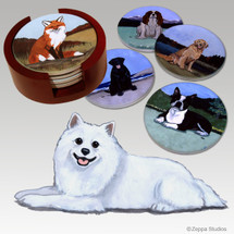American Eskimo Dog Bisque Coaster Set