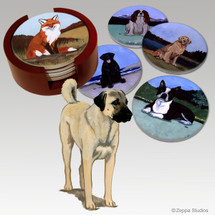 Anatolian Shepherd Bisque Coaster Set