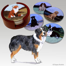 Australian Shepherd Bisque Coaster Set