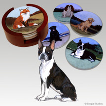 Boston Terrier Bisque Coaster Set