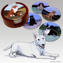 Bull Terrier Bisque Coaster Set