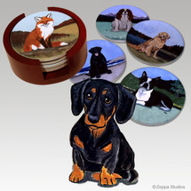 Dachshund Bisque Coaster Set