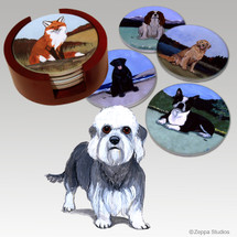 Dandi Dinmont Terrier Bisque Coaster Set