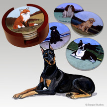 Doberman Pinscher Bisque Coaster Set