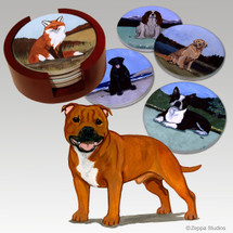 English Staffordshire Terrier Bisque Coaster Set