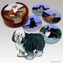 Polish Lowland Sheepdog Bisque Coaster Set