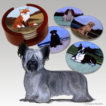 Skye Terrier Bisque Coaster Set