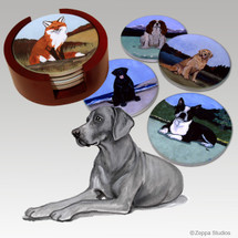 Weimaraner Bisque Coaster Set