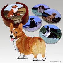 Welsh Corgi Bisque Coaster Set