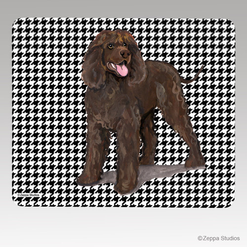 Irish Water Spaniel Houndstooth Mouse Pad