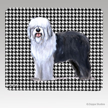 Old English Sheepdog Houndstooth Mouse Pad