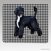 Portuguese Water Dog Houndstooth Mouse Pad