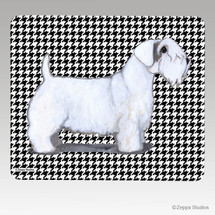 Sealyham Terrier Houndstooth Mouse Pad - Rectangle