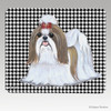 Tan & White Shih Tzu Houndstooth Mouse Pads