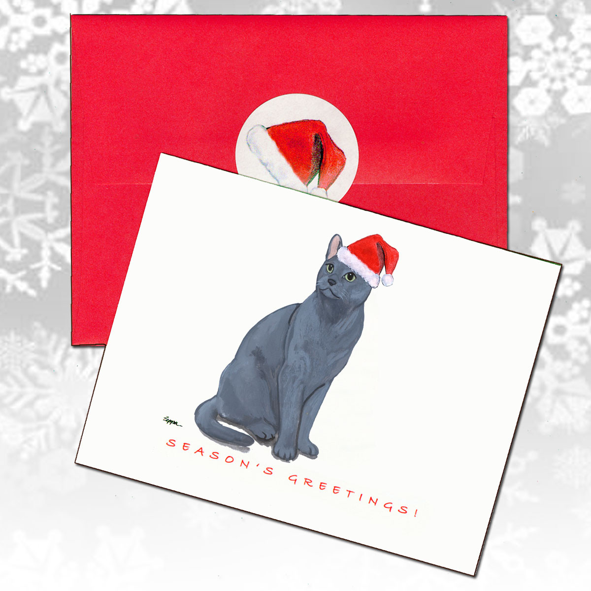 Russian Blue Cat Christmas Cards