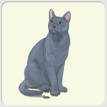 Russian Blue Cat Beverage Coasters