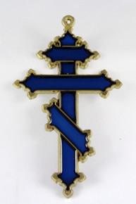 Suncatcher- 3-Bar Cross Suncatcher (Blue/Gold)