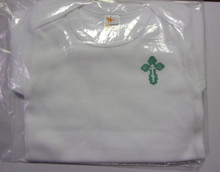 Onesie- White Onesie with Green Budded Cross (size 3-6 months)