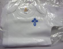 Onesie- White Onesie with Blue Budded Cross (size 3-6 months)