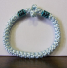 Prayer Rope- 33 Knot Pale Blue & White Prayer Rope with Blue Beads