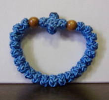 Prayer Rope- 33 Knot Blue Prayer Rope with Wood Beads
