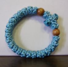 Prayer Rope- 33 Knot Light Blue Prayer Rope with Wood Beads