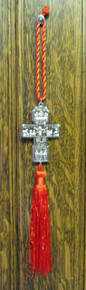 Cross- Metal Cross with Red Tassel (Silver)