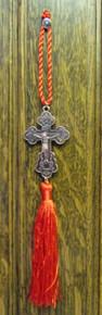 Cross- Metal Cross with Red Tassel (Bronze)