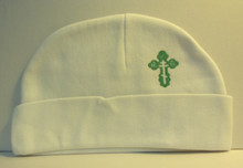 Hat- White Beanie with Green Budded Cross for Baby